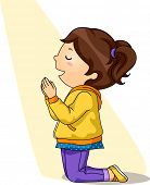 picture of pray  - Illustration of a Little Girl Kneeling While Praying - JPG