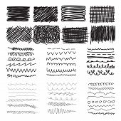 image of stroking  - Set of hand drawn doodle banners strokes and ink texture - JPG