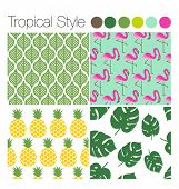 stock photo of flamingo  - SET OF TROPICAL EXOTIC JUNGLE BACKGROUNDS PATTERNS  - JPG
