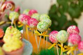 stock photo of cake pop  - Colorful cake pops in the candy bar - JPG