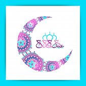 picture of eid al adha  - Creative floral design decorated crescent moon and Arabic Islamic calligraphy of text Eid Mubarak on white background for Muslim community festival celebration - JPG