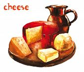 picture of cheese platter  - Watercolor image of  variety of cheeses on wooden platter with milk in the jar - JPG