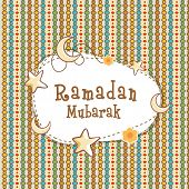 stock photo of ramadan mubarak card  - Elegant greeting card design decorated with crescent moons and stars for holy month of Muslim community - JPG