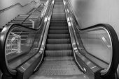 pic of escalator  - escalators in the city of Milan await the arrival of commuters