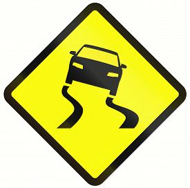 stock photo of slippery-roads  - Indonesian road warning sign - JPG