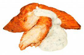 image of raita  - Cooked spicy tandoori chicken fillets with raita sauce isolated on a white background - JPG