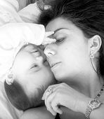 baby and her mum in black and white with soft focus