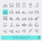 Set of transportation icons. Various means of transportation road, rail, air, water transport. Vario poster
