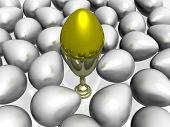 Gold Egg In A Bowl On A Background Of Other Eggs