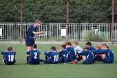 Footbal team whith coach