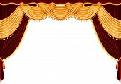stock photo of stage theater  - Old fashioned elegant theater stage with velvet curtains - JPG