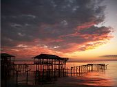 picture of alabama  - Farihope Alabama point clear sunset at the docks - JPG