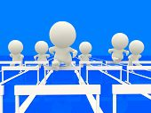3D people on a blue track competing at hurdles