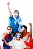 Patriotic people with flags painted on their faces - isolated over a white background