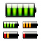 Glossy battery icons. Vector.