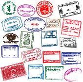 Various visa stamps from passports from worldwide travelling. Vector.