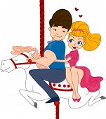 Illustration of a Pinup Couple Riding a Carousel