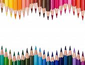 Top View Of Colored Pencils Frame Arranged