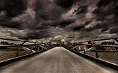 London moody skyline with storm overhead