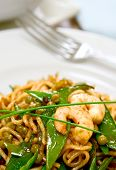 Plate Of Healthy Stir Fried Noodles With King Prawn.