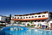 Beautiful Mediterranean Beach Resort Hotel In High Summer. poster