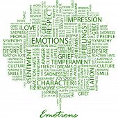 EMOTIONS. Word collage on white background. Illustration with different association terms.