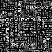 GLOBALIZACIÓN. Fondo transparente de vector. Ilustración con términos diferentes de la asociación.