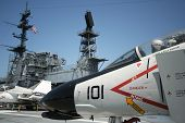 An F-4 Phantom and the USS Midway Island Superstructure