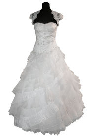 image of dress mannequin  - Wedding dress on mannequin isolated on white - JPG