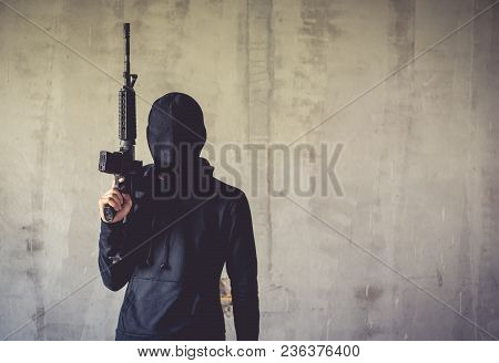 Terrorist Holding Rifle Gun On