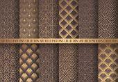 Art Deco Patterns Set. Seamless Golden Backgrounds. Fan Scales Ornaments. Geometric Decorative Digit poster