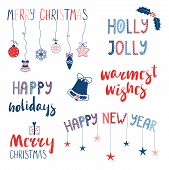Collection Of Different Christmas, New Year Quotes, Typographic Elements, With Hand Drawn Decoration poster