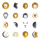 Brave Lion King Faces Emblems Elements Set. Heraldic Coat Of Arms Decorative Logo Isolated Vector Il poster