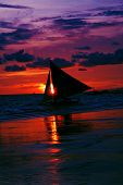 image of olongapo  - A Boat looking over a Gorgeous Beach Scene Boracay Philippines - JPG