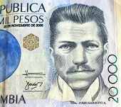 image of colombian currency  - Pesos currency of the country of Colombia - JPG