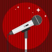A Microphone On A Background Of Red Curtains, Lit By A Realistic Microphone. Flat Design, Vector Ill poster