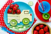Healthy Sandwich For Kids - Car Sandwich From Cheese, Fresh Kiwi And Strawberry. Funny Sandwich Idea poster