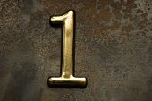 Number One, 1 Greeting Card, 1 Number, Volume Figure 1 Year, 1 Year Anniversary Gold Logo, Template  poster