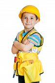 Boy In Builder's Uniform With Tools