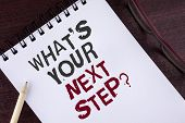 Text Sign Showing What Is Your Next Step Question. Conceptual Photo Analyse Ask Yourself Before Taki poster