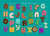 Artistic Alphabet With Encrypted Romantic Message I Love You More Than Donuts. Cartoon Colorful Lett poster