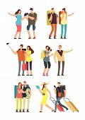 People With Luggage On Vacation. Tourist Man, Woman And Kids With Bags. Traveling Family Vector Char poster