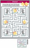 Maze Game For Children With Four Mice And Four Pieces Of Cheese: Can You Help Each Mouse Find The Pa poster