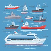 Ships Vector Boats Or Cruise Travelling In Ocean Or Sea And Shipping Transportation Illustration Mar poster