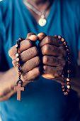African man prayer faith in christianity religion poster