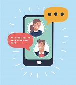 Vector Cartoon Illustration Of Man Chatting With Woman. Portraits Character Icon Display. Isolated O poster
