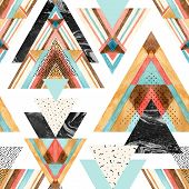 Abstract Watercolor Geometric Seamless Pattern. Triangles With Aztec Ornament, Watercolor, Doodle, B poster