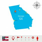 Постер, плакат: Georgia Vector Map Isolated On White Background High Detailed Silhouette Of Georgia State Vector F