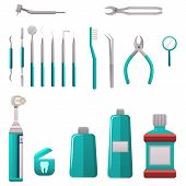 Dental Services Objects. Dental Cleaning And Care Tools. Stomatology And Orthodontics Instruments An poster