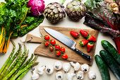 Food Background With Italian Spring And Summer Vegetables And Fruits. Top Shot With Cutting Board An poster